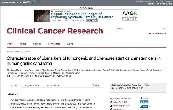Công trình nghiên cứu được công bố trên Tạp chí Clinical Cancer Research (Impact factor: 8,738)