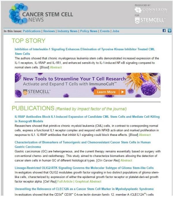 Công trình nghiên cứu được tạp chí Cancer Stem Cell News bình duyệt ở vị trí thứ 3 trong top 10 công bố về tế bào gốc ung thư.